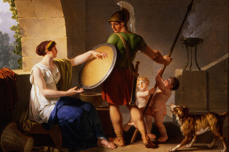 Jean-Jacques-Francois Le Barbier Una donna spartana da lo scudo a suo figlio