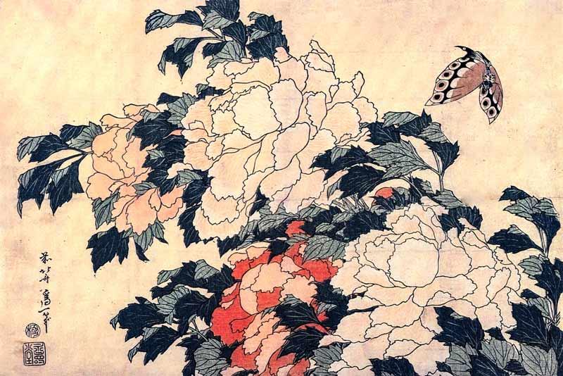 Katsushika Hokusai, Peonie e farfalla