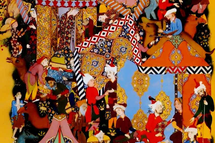 Abdul-Rahman Jami, Majnun si avvicina al campo di Layli , miniatura dal Haft Awrang 1556-1565