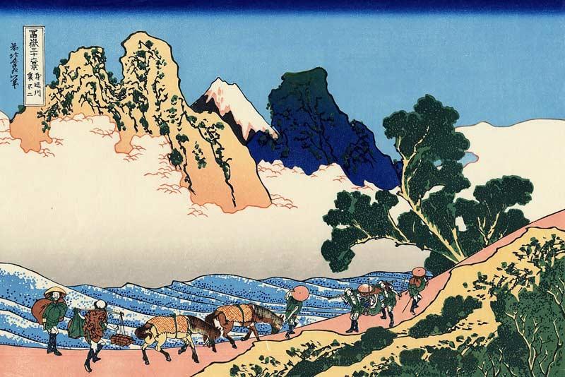 Katsushika Hokusai, Il retro del Fuji dal fiume Minobu