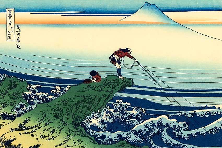 Katsushika Hokusai, Kajikazawa nella provincia di Kai, dalle Trentasei vedute del monte Fuji, 1830-32