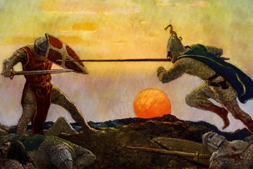 N. C. Wyeth, Duello tra Re Artù e Mordred, 1922
