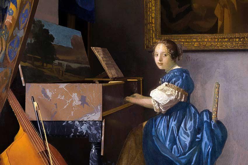 Johannes Vermeer, Donna-seduta alla spinetta, 1675