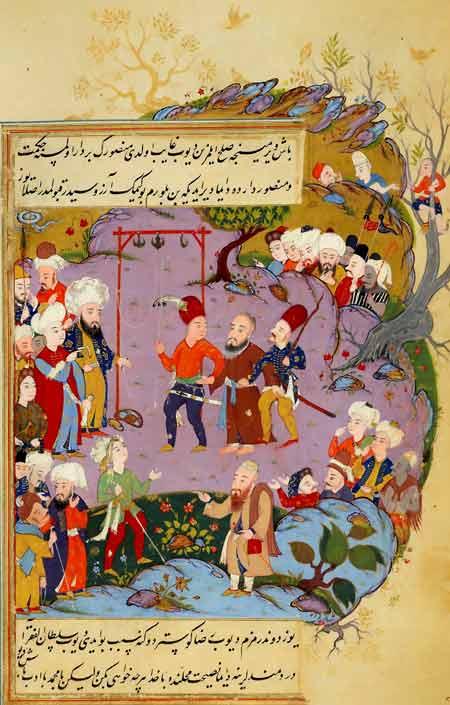 L'esecuzione di Al Hallaj in una miniatura. Alcune fonti riferiscono che fu crocifisso, altre che fu impiccato