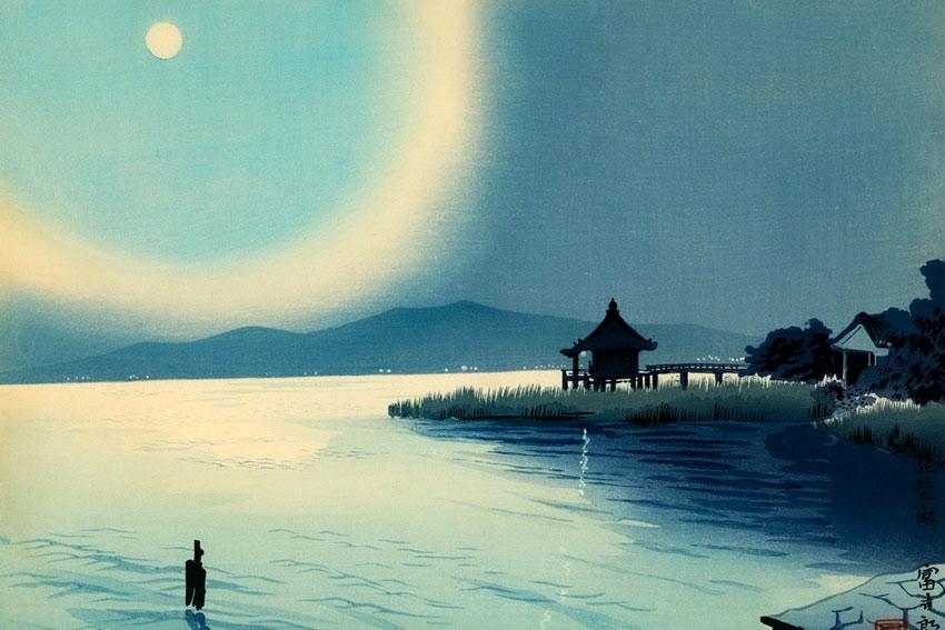 Tomikichiro Tokuriki, Tempio di Ohmi Katata Ukimido, 1950. Il Sosaku Hanga è stato una forma artistica nata all'inizio del Novecento che considerava l'arte un'espressione dell'io, e come tale, doveva essere interanente prodotta dall'artista.