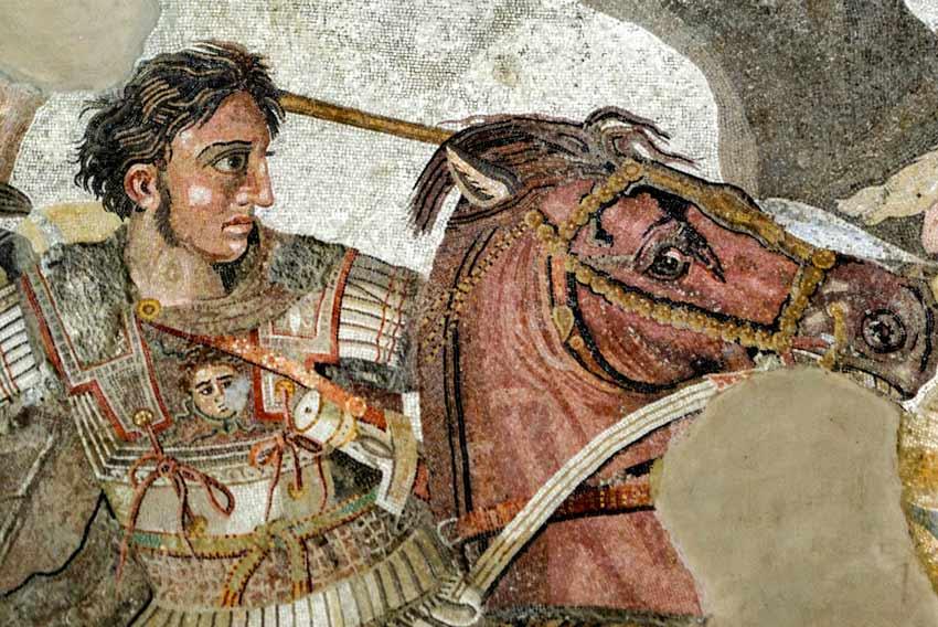 Alessandro Magno e Bucefalo, Mosaico della Battaglia di Isso, Museo Archeologico Nazionale Napoli