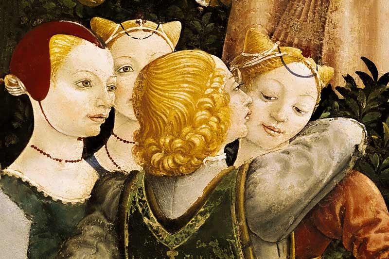 Francesco del Cossa, Mese di Aprile, salone dei mesi di Palazzo Schifanoia a Ferrara, 1469-70 (particolare)