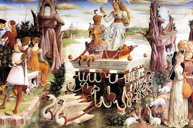 Francesco del Cossa, Allegoria di Aprile, trionfo di Venere, 1476