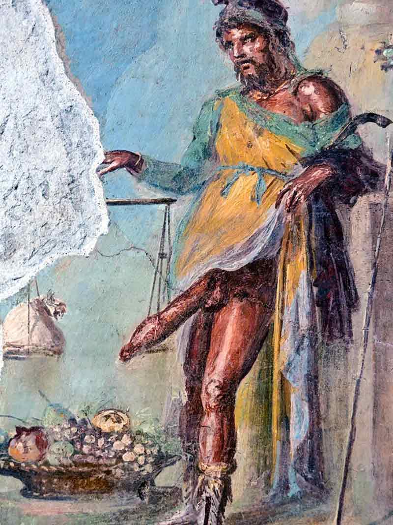 Il dio Priapo, persecutore di Encolpio. Affresco, Casa dei Vettii, Pompei.