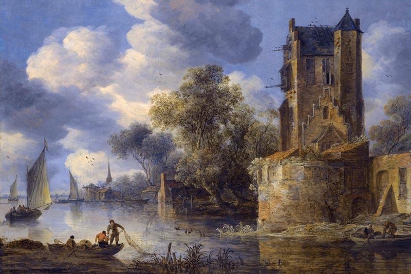 Adriaen Van der Kabel, Paesaggio fluviale con bastione