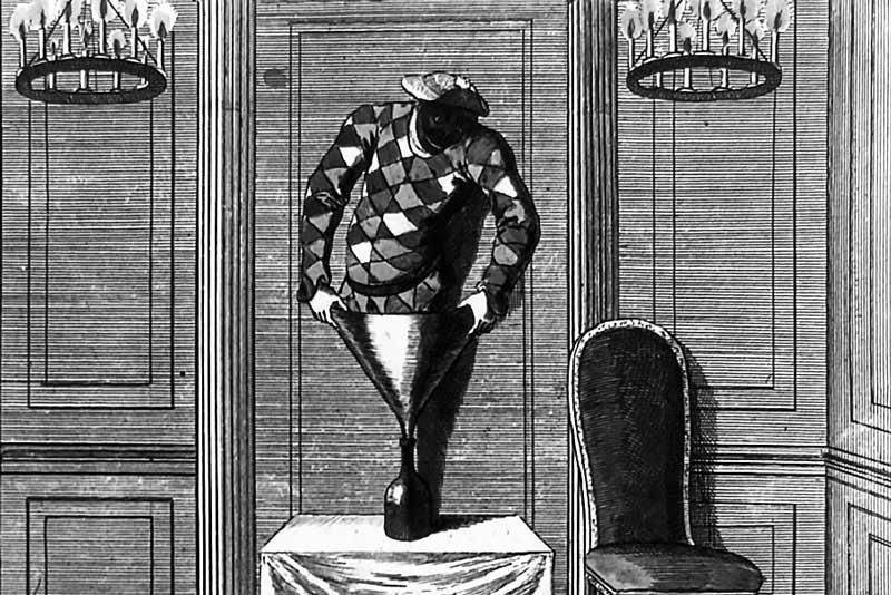 """Stampa raffigurante la scena della fuga di Arlecchino attraverso la bottiglia inserita nella pantomima """"Apollo and Daphne""""."""