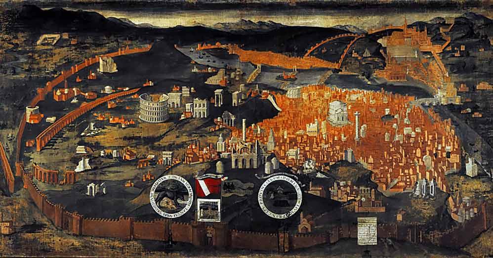 Veduta di Roma nel Quattrocento, affresco. Mantova, Palazzo Ducale. Particolare