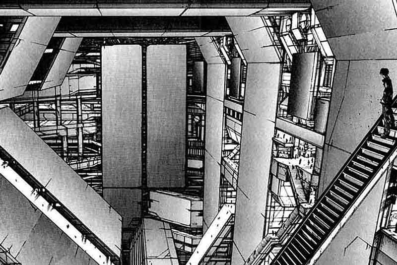 Una strepitosa panoramica di una delle architetture che costellano il mondo di Blame!.