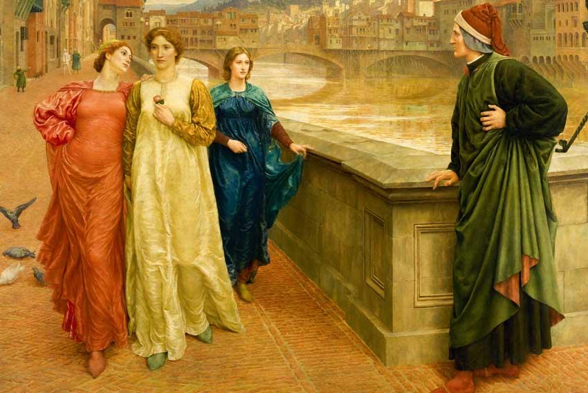 """<span style=""""color: #000000; font-size: 10pt; font-family: verHenry Holiday, l'incontro immaginario fra Dante e Beatrice (con il vestito bianco) accompagnata dall'amica Vanna (con il vestito rosso), sul Ponte Santa Trinita in Firenze (1883)"""