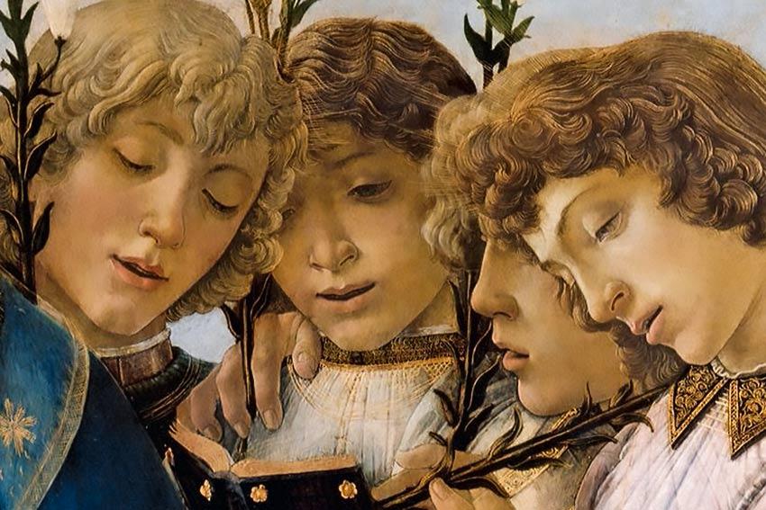 Botticelli madonna con bambino e angeli in canto
