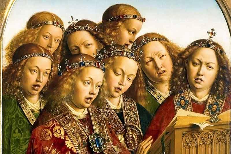Jan Van Eyck, angeli che cantano e che suonano, 1432 (particolare)