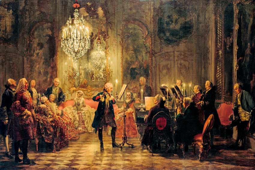 Adolph Von Menzel, Concerto di flauto i Federico il Grandei, 1852