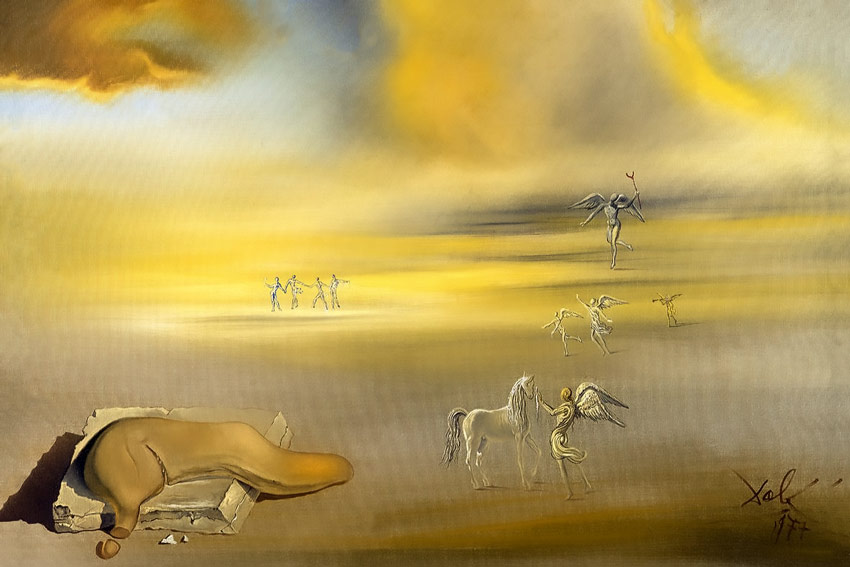 Salvador Dalì, mostro molle in un paesaggio angelico, 1977