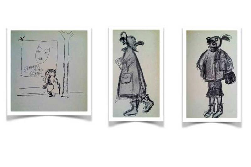 A sinistra, il primo disegno di Cabiria eseguito da Fellini ai tempi del film Lo sceicco bianco. Nelle altre due immagini, Cabiria in tenuta invernale e da pioggia (disegni di Pietro Gherardi).