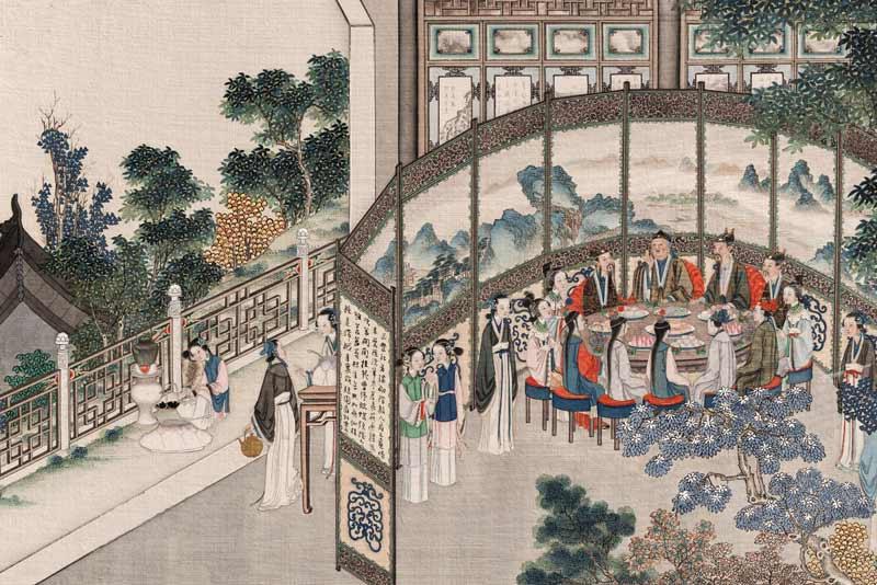 Sun Wen ha dedicato una serie di dipinti al romanzo. Qui vediamo il giardino visto dagli spazi femminili della casa di Jia Bao-Yu, dove è ambientata parte del romanzo.