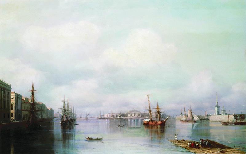 Ivan Aivazovsky, veduta di s. Pietroburgo, 1888