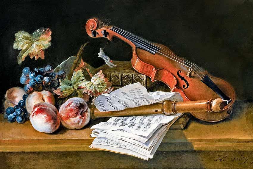 Jean Baptiste Oudry, Natura morta con violino, fogli di musica pesche e uva su tavolo