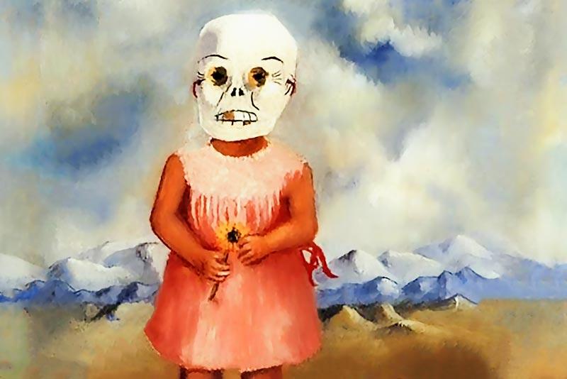 Frida Kahlo ragazza con la maschera della morte lei gioca da sola 1938