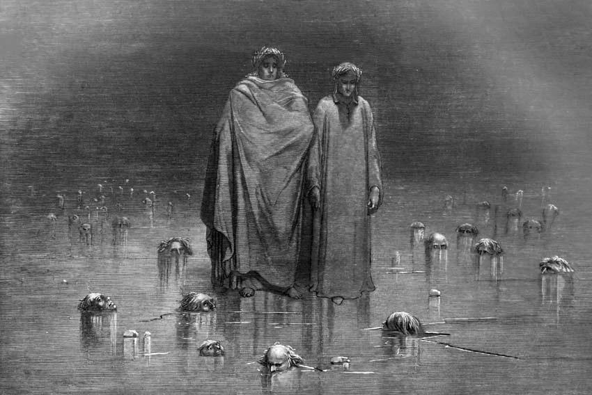Gustave Doré, Dante e Virgilio nel Cocito, 1857