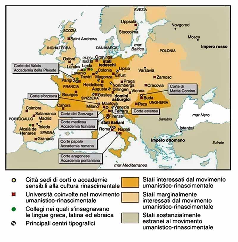 Mappa delle corti del rinascimento