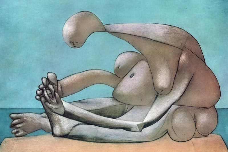 Pablo Picasso, Femme assise sur la plage (donna seduta sulla spiaggia)- 10 febbraio 1937- olio carboncino e pastello su tela