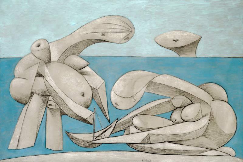 Pablo Picasso - La baignade (Sulla spiaggia) - 12 febbraio 1937 - olio, conté e gesso su tela