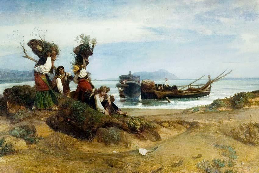 Nino Costa, Donne sulla spiaggia di Anzio