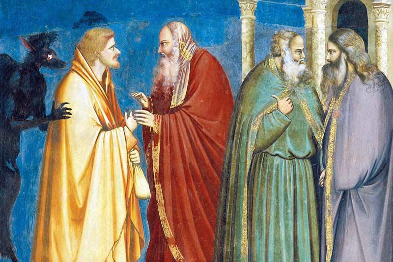 Giotto, Cappella degli Scrovegni, Il tradimento di Giuda, 1306