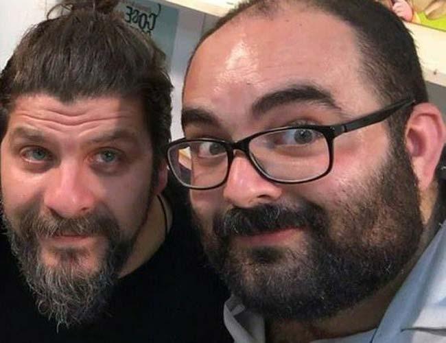 Valerio Valentini insieme all'editore Emanuele Pilia