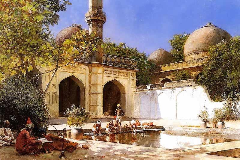 Edwin Lord Weeks, Persone nel cortile di una moschea, 1893-1895