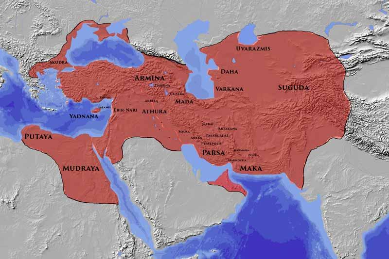 Mappa dell'impero persiano al tempo di Cambise II Armata perduta re cambise