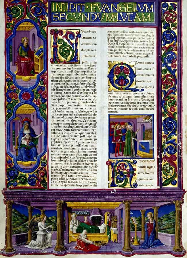 Gerolamo da Cremona, Annunciazione e natività della Vergine, Bibbia di Borso d'Este, II, f. 157 v.