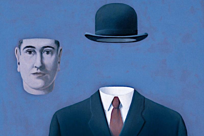 René Magritte, Il pellegrino, 1966 l'uomo di magritte è simbolo del conformismo borghese