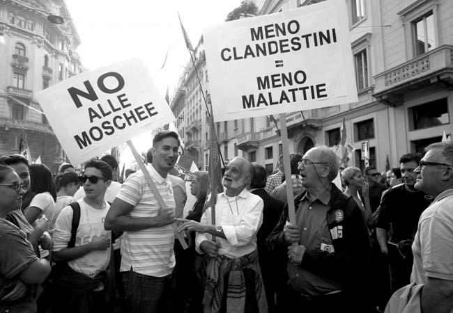 Manifestazione Stop Invasione della Lega Nord a Milano (credits: RaiNews)