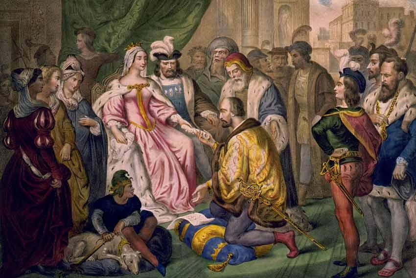 Cristoforo Colombo in ginocchio davanti a Isabella di Castiglia in una stampa ottocentesca