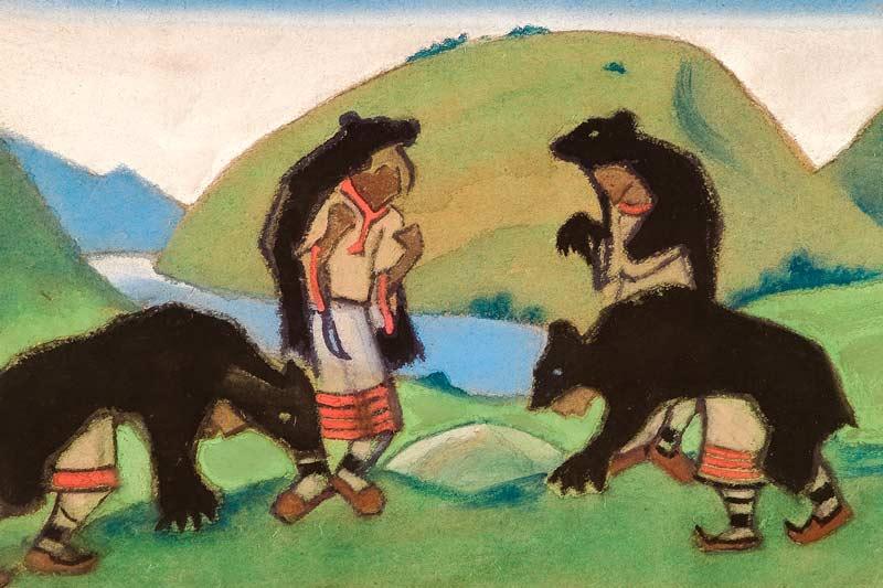 Nicholas Roerich, Gli anziani si vestono di pelli d'orso, 1944