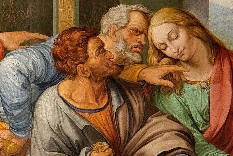 Leonardo Da Vinci, Ultima cena, particolare di Giuda, 1494-1498