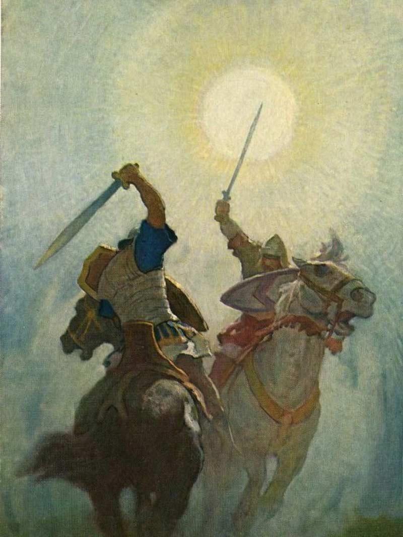 N.C. Wyeth, Illustrazione per le Leggende di Carlomagno, 1950