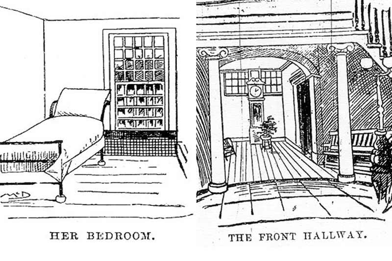 Gli spazi interni del manicomio di Blackwell's Island in due vignette dell'epoca