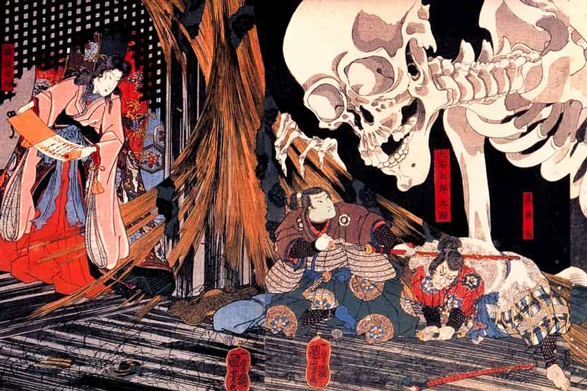 Utagawa-Kuniyoshi-Mitsukuni-combatte-lo-scheletro-invocato-dalla-principessa-Takiyasha