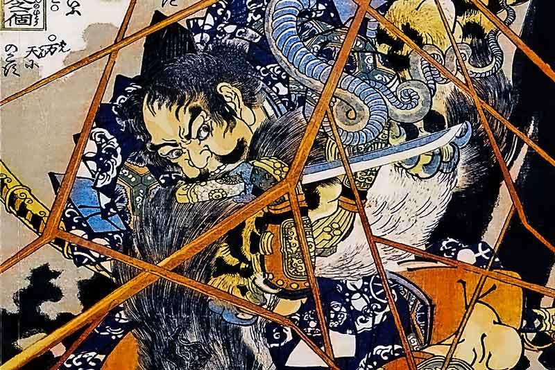 Utagawa Kuniyoshi, dalla serie dei 108 eroi del romanzo cinese Suikoden, I Briganti (particolare)