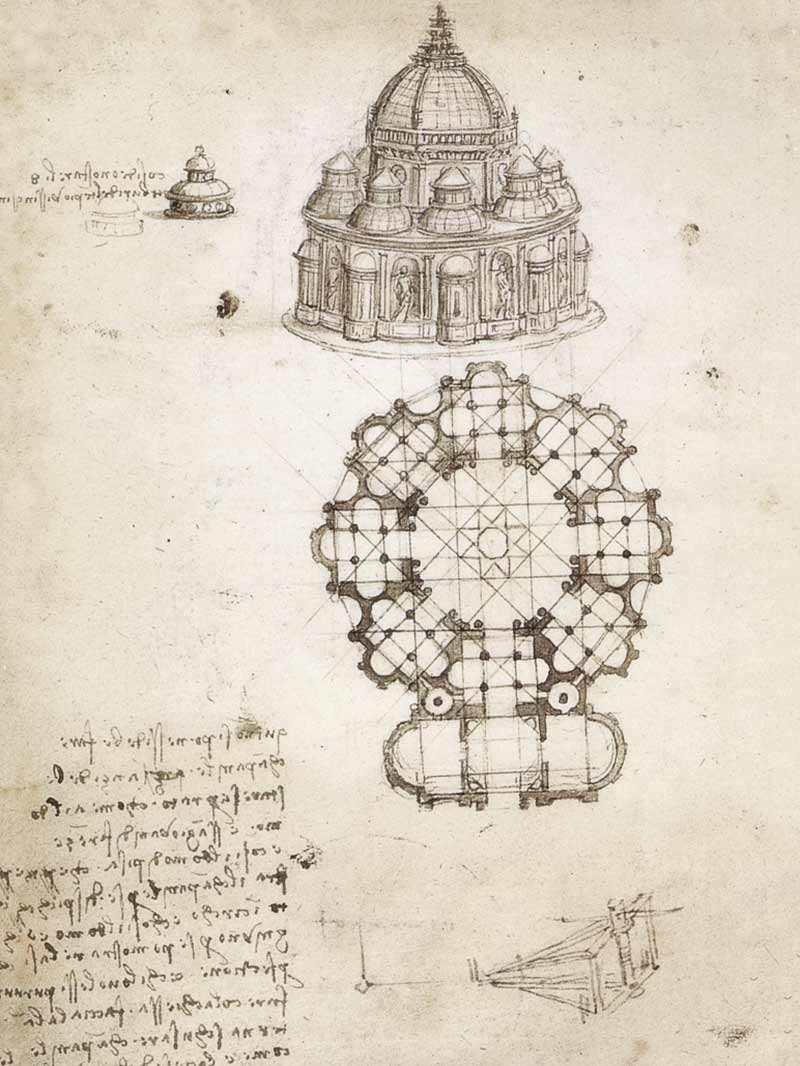 Disegni a pianta centrale, Leonardo, Ms. B, Institut de France, Parigi, 1489