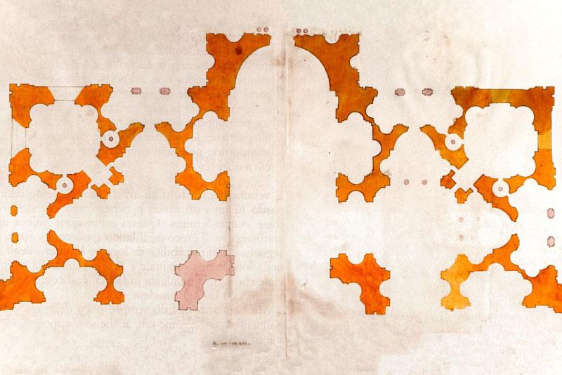 Disegno progettuale di Bramante per San Pietro, Uffizi