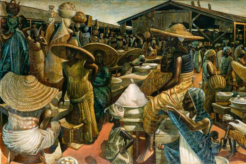 John Biggers, Kumasi Market, 1962.