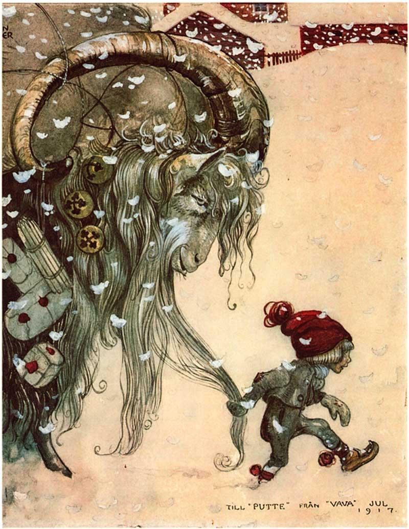 John Bauer, illustrazione tratta dalle Storie d'Inverno sulla capra Goat, la classica illustrazione dei libri di fiabe, con elfi minuti calzati di rosso, che vivono in armonia con le forze della Natura.